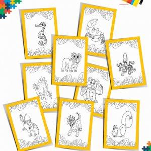Pobarvanka za otroke – Za razigrane fante  – Kraljestvo živali (13 strani)