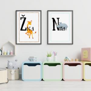 Personalizirana stenska dekoracija – Ime otroka in ljubka žival