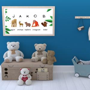 Personalizirana stenska dekoracija z otroškim imenom – džungla