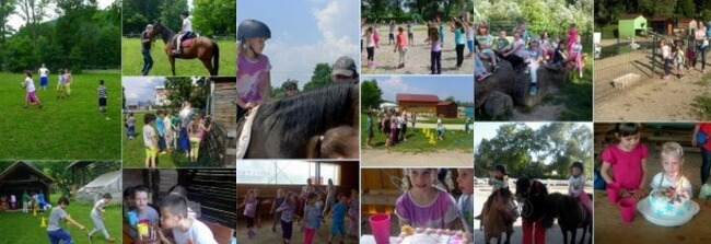 otroški rojstni dan na kmetiji - jahanje s konji