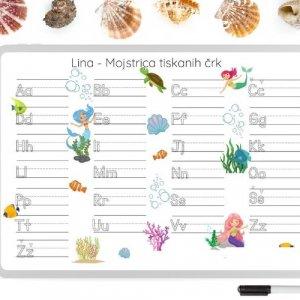 Personalizirana grafika A3 – riši – briši učenje črk – morje