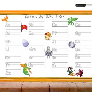 Personalizirana grafika A3 – riši – briši učenje črk – zmaji